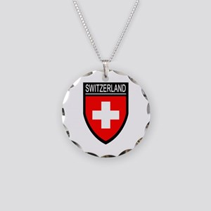 Switzerland Flag Patch Necklace Circle Charm