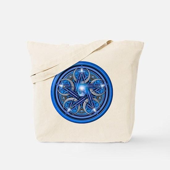 Blue Crescent Moon Pentacle Tote Bag