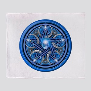 Blue Crescent Moon Pentacle Throw Blanket