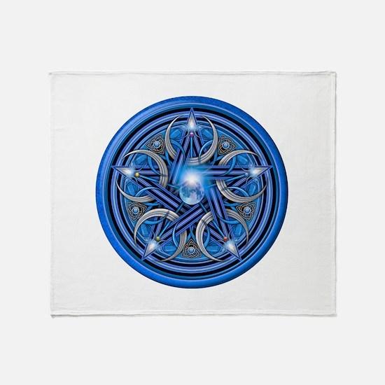 Blue Crescent Moon Pentacle Throw Blanket