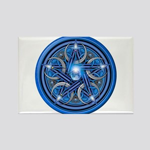 Blue Crescent Moon Pentacle Rectangle Magnet