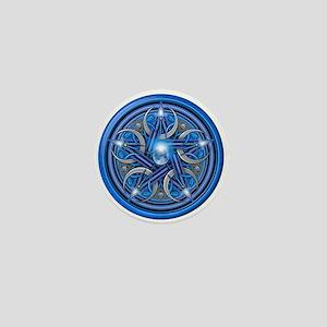 Blue Crescent Moon Pentacle Mini Button