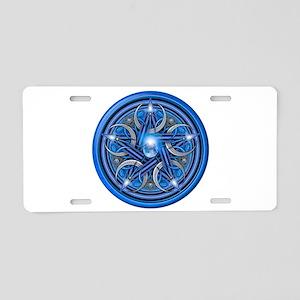 Blue Crescent Moon Pentacle Aluminum License Plate