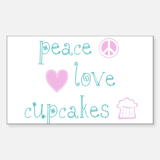 Peace, Love and Cupcakes Sticker (Rectangle)