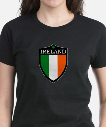 Ireland Flag Patch Women's Dark T-Shirt