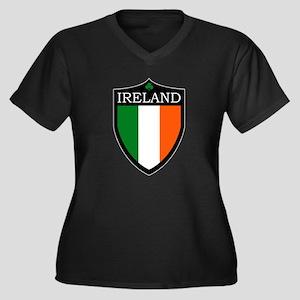 Ireland Flag Patch Women's Plus Size V-Neck Dark T