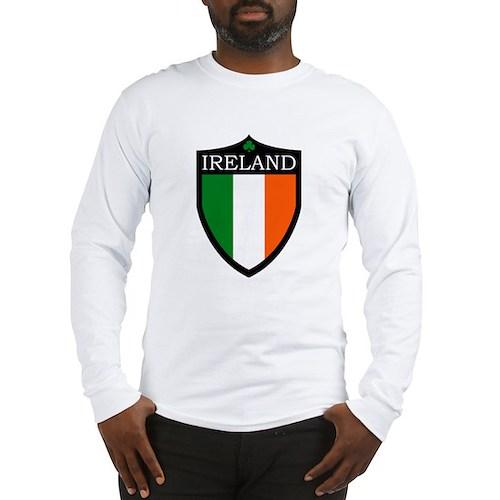 Ireland Flag Patch Long Sleeve T-Shirt