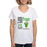 Kidney Disease Hope Prayer Women's V-Neck T-Shirt