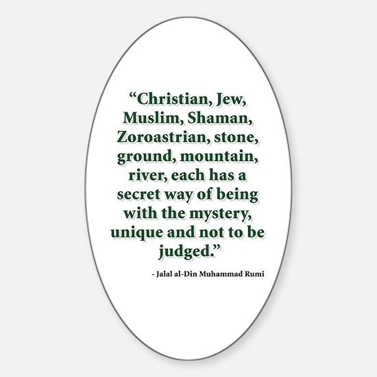 Rumi Religion Quote Sticker (Oval)