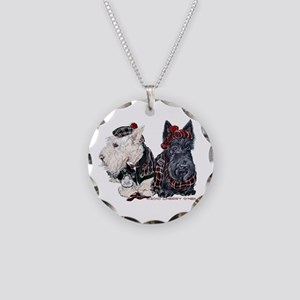 Scottish Highland Terriers Necklace Circle Charm