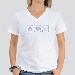 Peace, Love and Pacifiers squ Women's V-Neck T-Shi