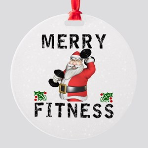 Merry Fitness Santa Round Ornament