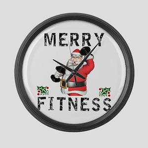 Merry Fitness Santa Large Wall Clock