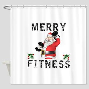 Merry Fitness Santa Shower Curtain