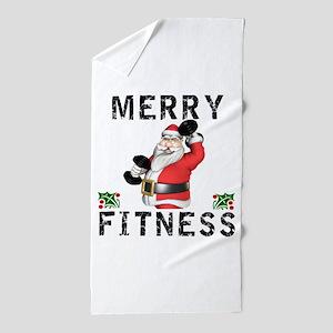 Merry Fitness Santa Beach Towel