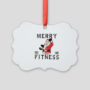 Merry Fitness Santa Picture Ornament