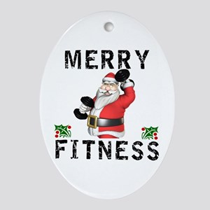 Merry Fitness Santa Oval Ornament