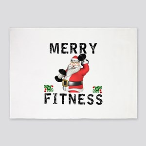 Merry Fitness Santa 5'x7'Area Rug