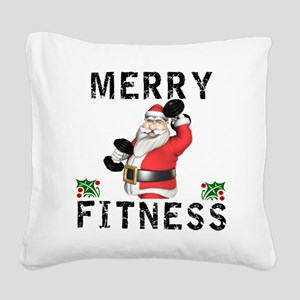 Merry Fitness Santa Square Canvas Pillow
