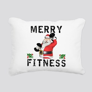 Merry Fitness Santa Rectangular Canvas Pillow