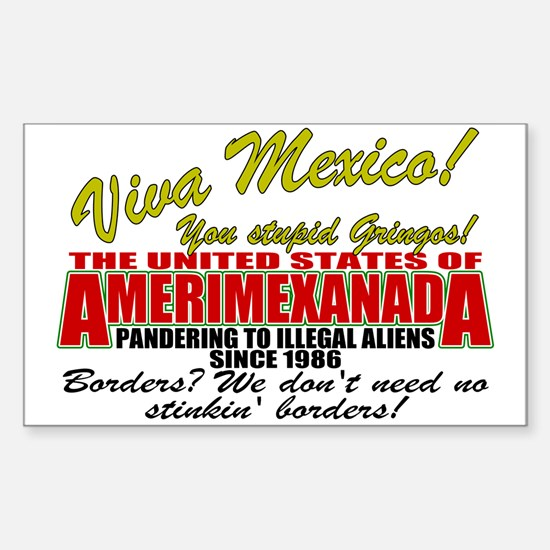 Anti Mexican Illegal Alien Rectangle Decal