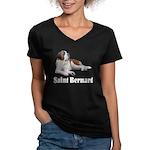 Saint Bernard Women's V-Neck Dark T-Shirt