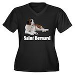 Saint Bernard Women's Plus Size V-Neck Dark T-Shir