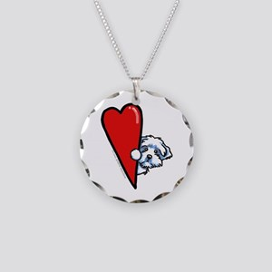 Maltese Lover Necklace Circle Charm