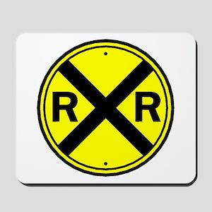 Yellow Railroad Crossing Mousepad