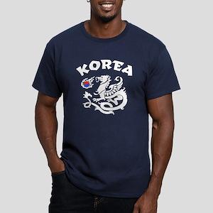 Korea Dragon Men's Fitted T-Shirt (dark)