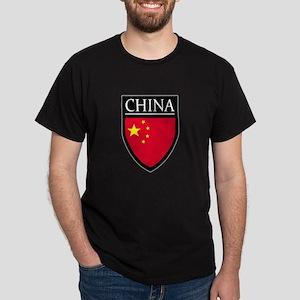 China Flag Patch Dark T-Shirt