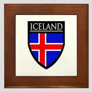 Iceland Flag Patch Framed Tile