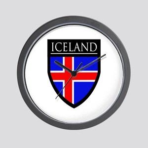 Iceland Flag Patch Wall Clock