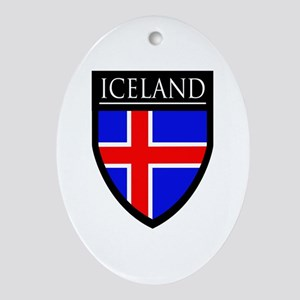 Iceland Flag Patch Ornament (Oval)
