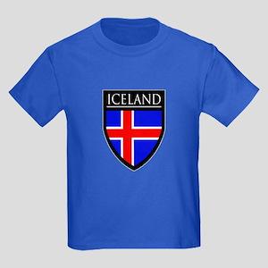 Iceland Flag Patch Kids Dark T-Shirt
