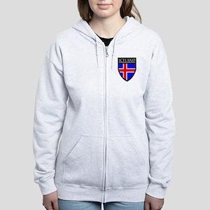 Iceland Flag Patch Women's Zip Hoodie