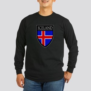 Iceland Flag Patch Long Sleeve Dark T-Shirt