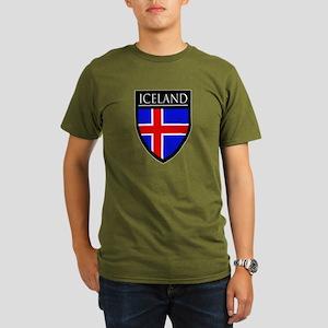 Iceland Flag Patch Organic Men's T-Shirt (dark)