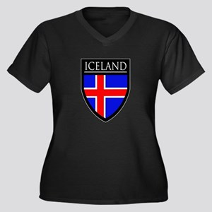 Iceland Flag Patch Women's Plus Size V-Neck Dark T