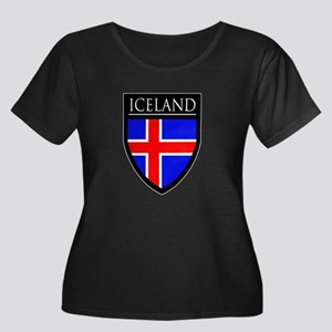 Iceland Flag Patch Women's Plus Size Scoop Neck Da