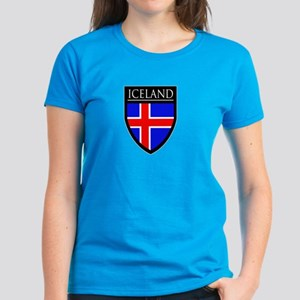 Iceland Flag Patch Women's Dark T-Shirt