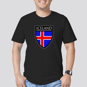 Iceland Flag Patch Men's Fitted T-Shirt (dark)