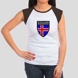 Iceland Flag Patch Women's Cap Sleeve T-Shirt