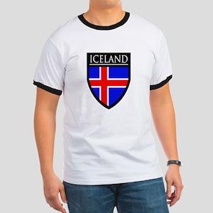 Iceland Flag Patch Ringer T