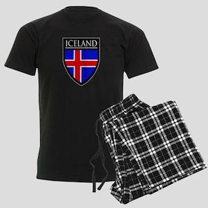 Iceland Flag Patch Men's Dark Pajamas