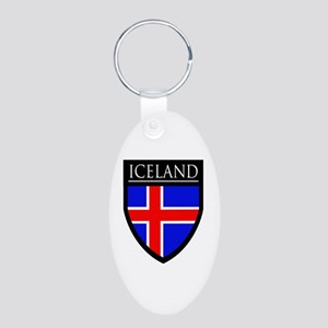 Iceland Flag Patch Aluminum Oval Keychain