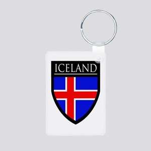 Iceland Flag Patch Aluminum Photo Keychain
