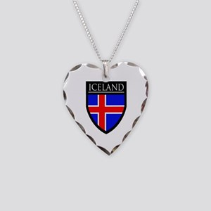 Iceland Flag Patch Necklace Heart Charm