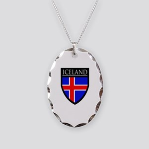 Iceland Flag Patch Necklace Oval Charm