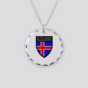 Iceland Flag Patch Necklace Circle Charm